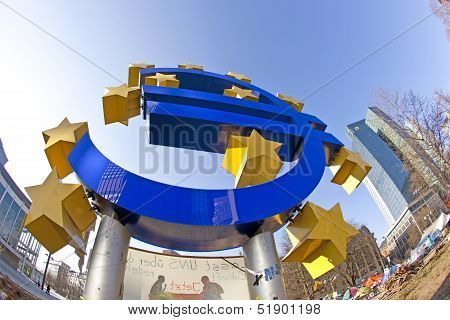 Giant Euro Currency Sign In Front Of European Central Bank In Frankfurt, Germany