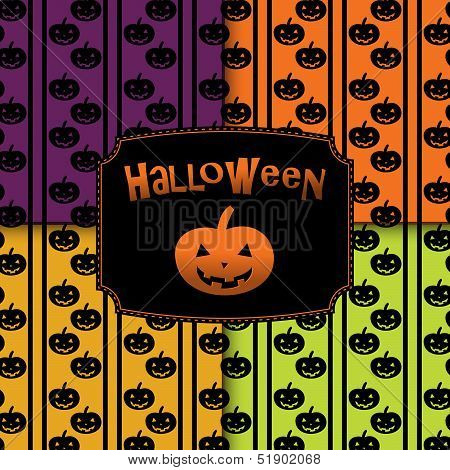 Halloween pumpkins seamless pattern background