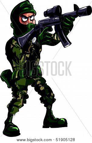 Cartoon illustration of soldier