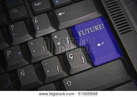 Black Keyboard With Blue Key And Word Future