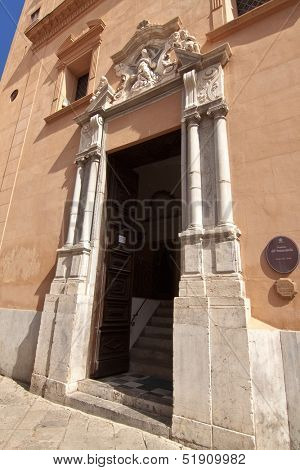 Old portal of Immacolatella oratory in Palermo, Sicily
