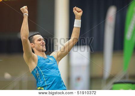 LINZ, AUSTRIA - JANUARY 31 Kostas Filippidis (#605 Greece) wins the men's pole vault event on January 31, 2013 in Linz, Austria.