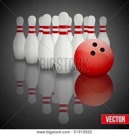 Background of bowling pins and ball with a flower