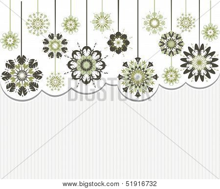 Vector Illustration Of An Abstract Flowers On Striped Background