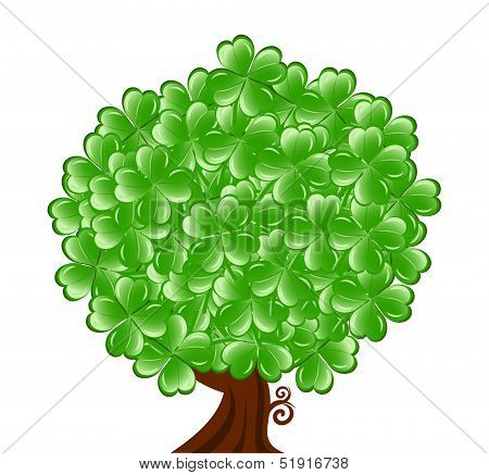 Vector Illustrationof A  Tree For St. Patrick's Day With Four Leaf Clover Isolated On White Backgrou