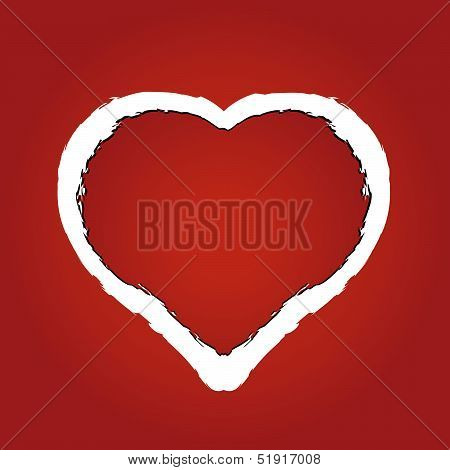 Vector Illustration Of A Heart Made Of Red Ragged Paper