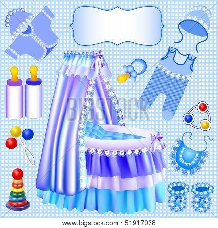Blue Set Of Children's Cradle Beanbag Booties Sliders