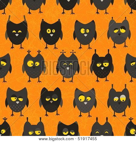 Halloween owl seamless. Vector background.
