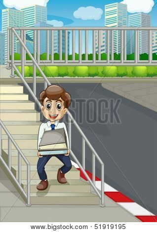 Illustration of a smiling man at the stairs bringing a lot of documents