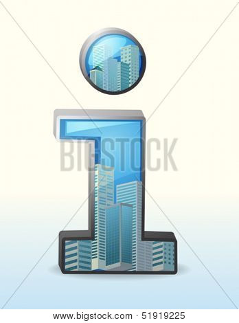 Illustration of a number one symbol with tall buildings inside on a white background