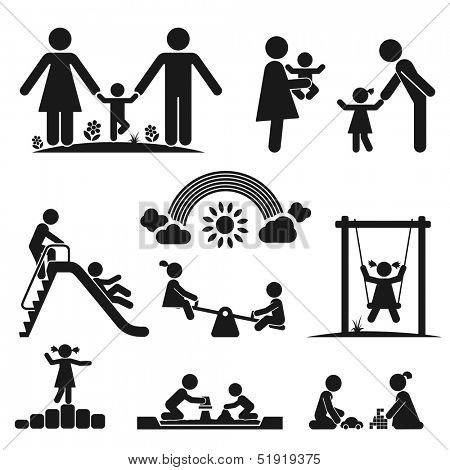 Children play on playground. Pictogram icon set