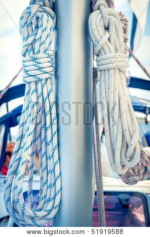 Ropes On Mast, Sailing Boat