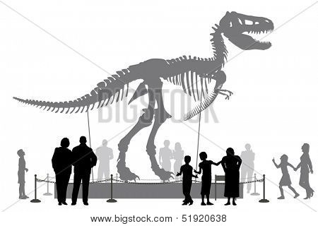 Illustrated silhouettes of people looking at a Tyrannosaurus rex skeleton in a museum
