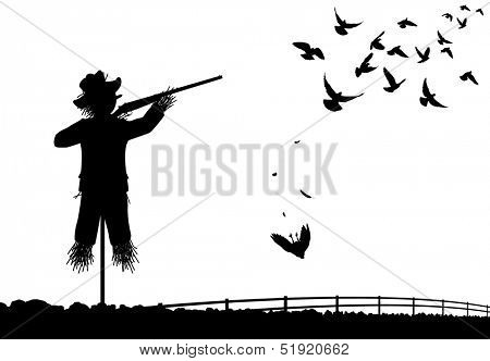 Illustrated silhouette of a scarecrow shooting pigeons with a shotgun