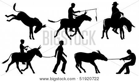 Set of illustrated silhouettes of donkeys and people in different situations