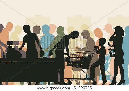 Colorful illustration of people in checkout queues in a busy supermarket