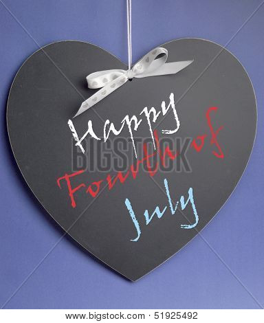 Fourth Of July, Usa America Holiday, Celebration With Happy Fourth Of July Message On Heart Shape Bl