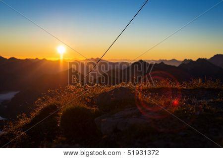 idyllic sunrise in tyrol mountains
