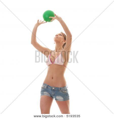 Beautiful Woman Playing Volleyball
