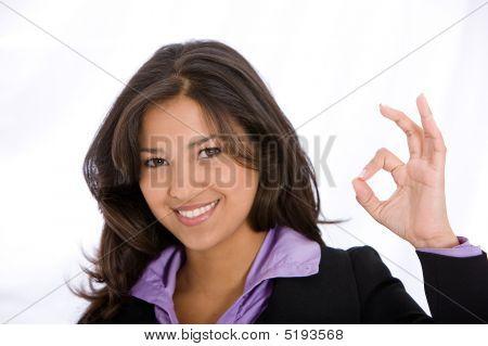 Business Woman Okay Sign