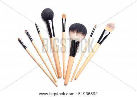 Brown Make-up Brushes Isolated On White