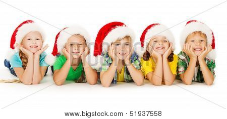 Christmas Kids in Hat, Group of Children Santa Helpers on White