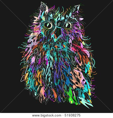 Owl in night, symbol of Halloween, vector illustration. Illustration for t-shirt.