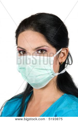 Portrait Of Young Woman With Protective Mask