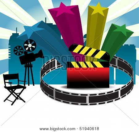 Film projector and clapboard