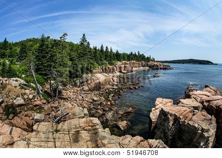 Acadia rocky coast in Maine near Thunder hole in Summer