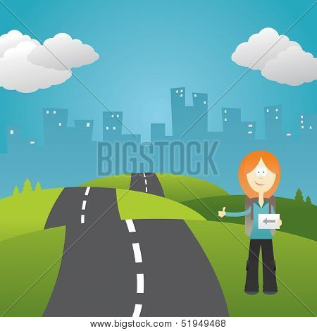 Girl hitchhiker