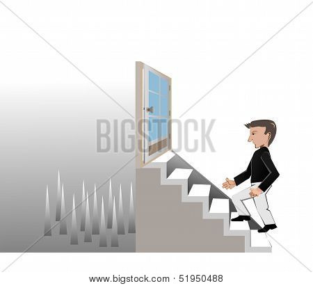 The Man Walk On Stair