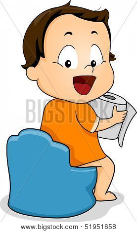Illustration of a Young Boy Holding a Roll of Toilet Paper While Sitting on a Potty