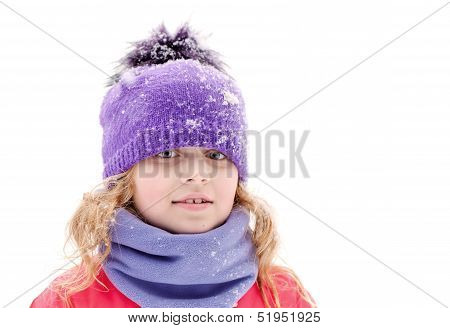 Little Beautiful Blond Girl In Winter Outwear With Snowflakes Above White Background