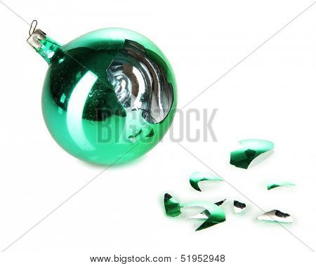 Broken Christmas Toy isolated on white