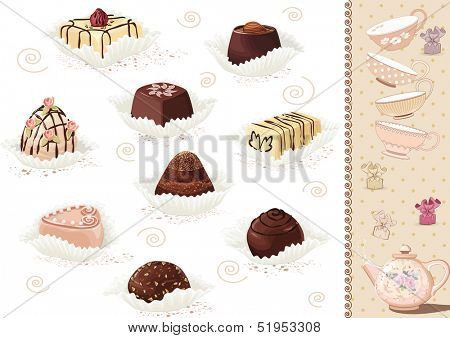 Set of chocolate candies over white background