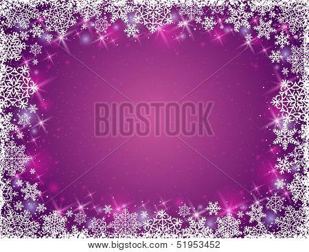 Purple Background With Frame Of Snowflakes