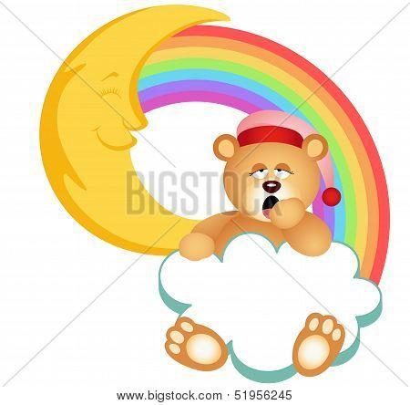Teddy Bear Sleepy Cloud Rainbow