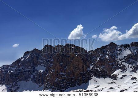 Snowy Rocks In Nice Day