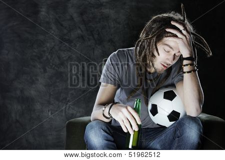 Football Fan Watching Television