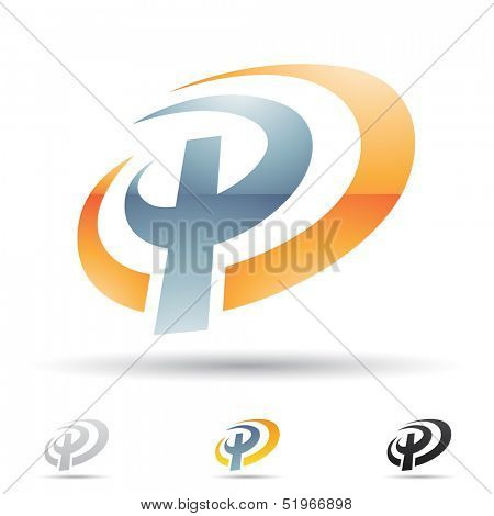 illustration of abstract icons based on the letter P