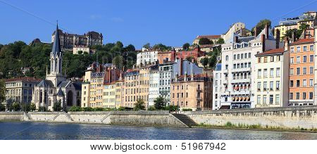 Saone River With Colorful Houses