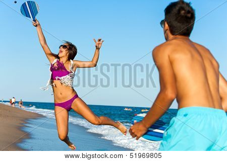 Dynamic Beach Tennis Jump.