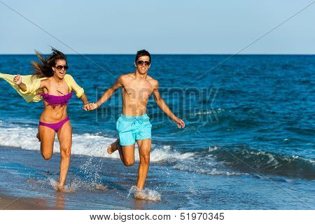 Running Teen Couple.