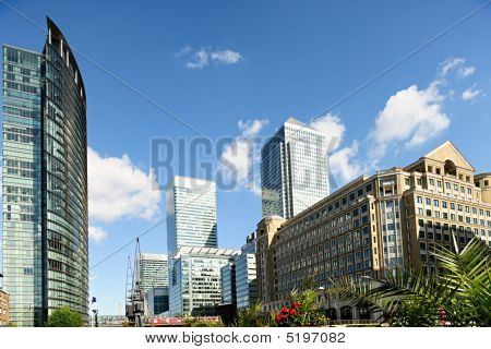 Canary Wharf London England Uk From West India Quay On A Sunny Afternoon