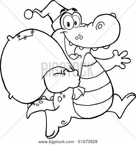 Black and White Crocodile Santa Cartoon Mascot Character Running With Bag