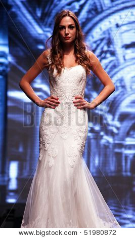 ZAGREB, CROATIA - OCTOBER 04: Fashion model wears dress made by Royal Bride on 'Wedding days' show, October 04, 2013 in Zagreb, Croatia.