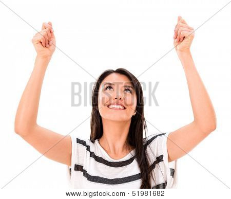 Woman holding up an imaginary object to edit - isolated over white