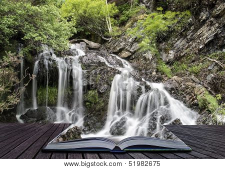 Creative Concept Pages Of Book Landscape Detail Of Waterfall Over Rocks In Summer Long Exposure Blur