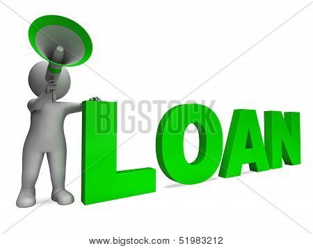 Loan Character Shows Bank Loans Mortgage Or Loaning